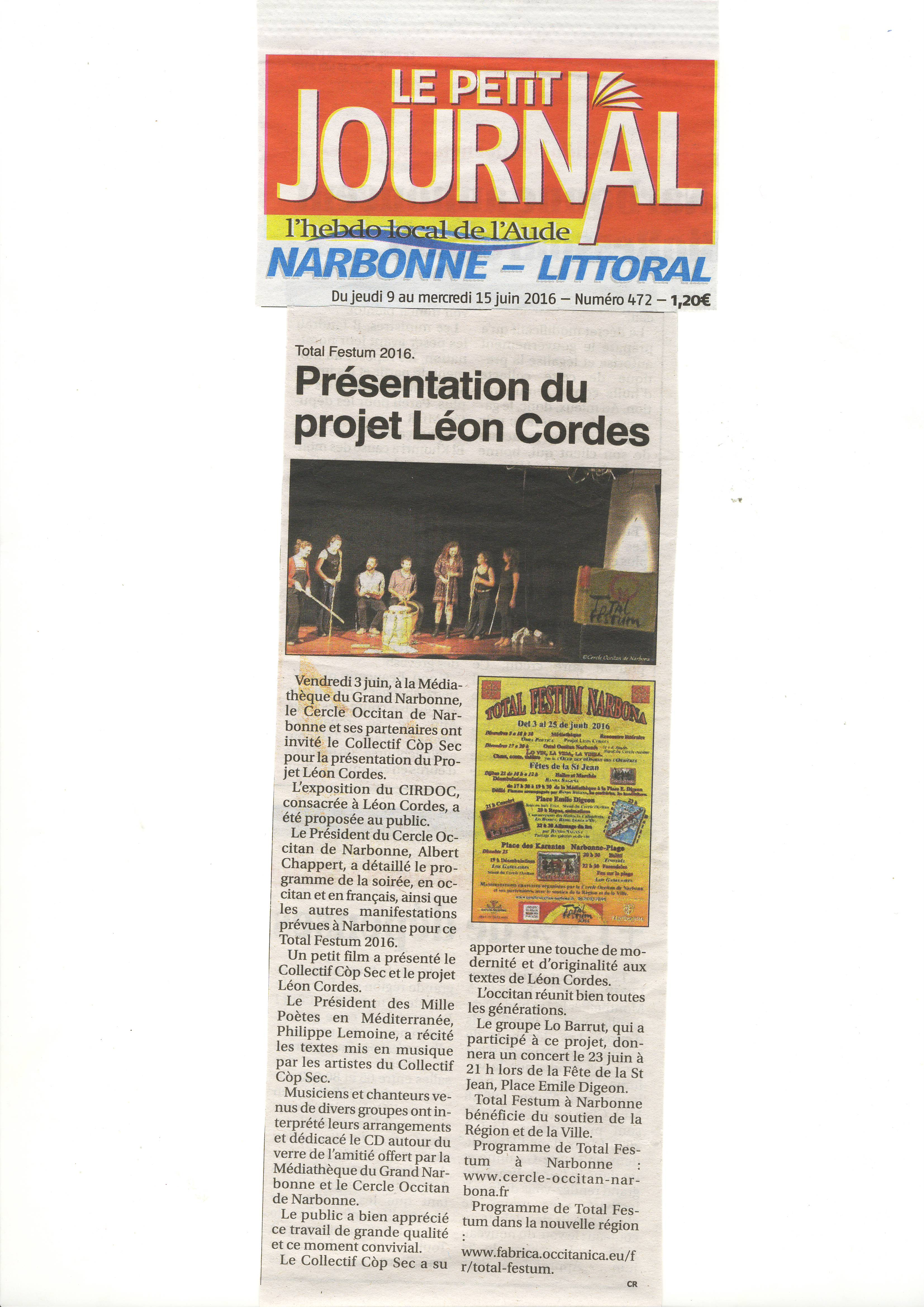 Projet Lon Cordes Petit Journal
